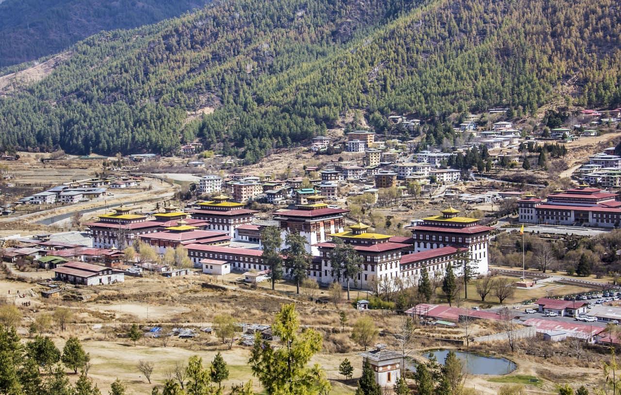 Vista aérea Dzong Thimpu Butão