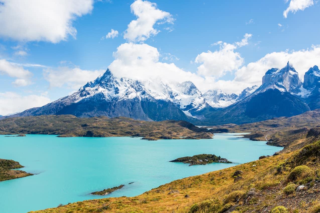Vista lago Pehoe Parque Nacional Torres del Paine Patagônia Chile