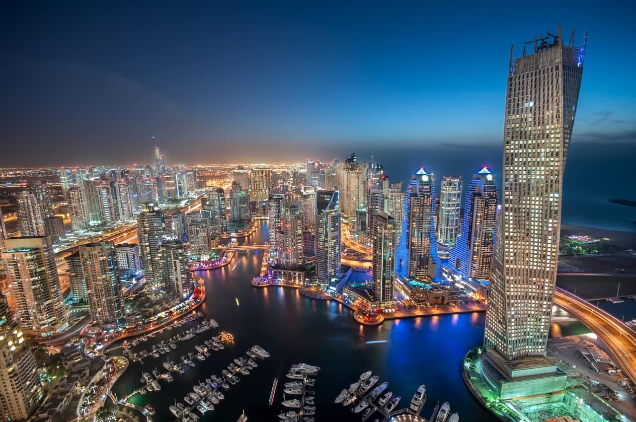 Vista aérea cidade Dubai marina