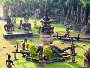 Budismo ponto turístico Parque Buddha, Vientiane, Laos