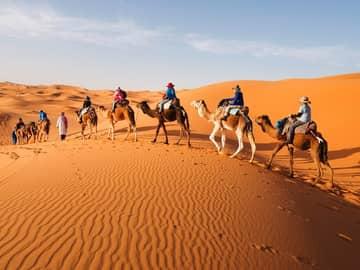 Caravana pelo deserto do Saara