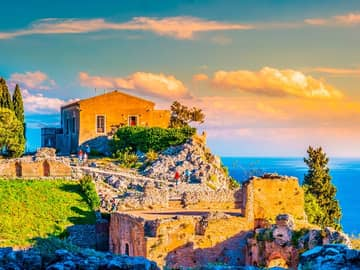 He ruins of taormina theater at