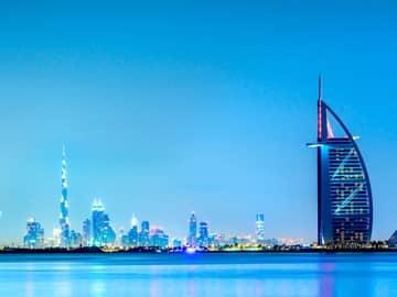 Horizonte Dubai amanhecer