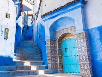 Rua de Chaouen, a cidade azul do Marrocos.