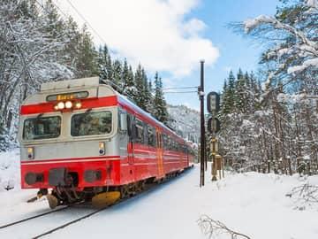Trem de Oslo a Bergen nas montanhas, Noruega