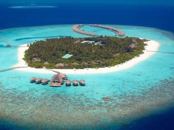 Vista aérea, Anantara Kihavah Villas, Ilhas Maldivas