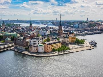 Vista aérea da cidade (Gamla Stam) - Estocolmo, Suécia.