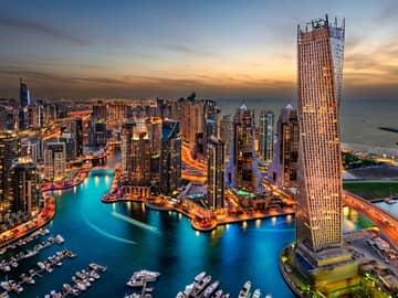 Vista aérea marina cidade Dubai