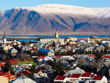 Vista aérea Reykjavik inverno, Islândia