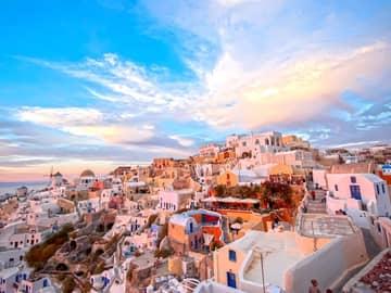 Vista cidade Santorini Grécia