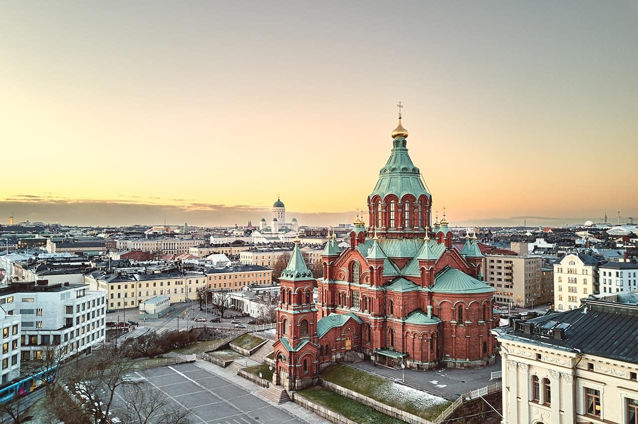 Vista aérea de Helsinki, Finlândia.