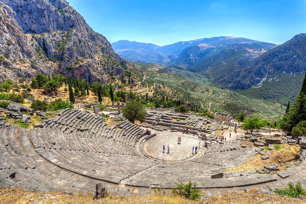 Antigo teatro Delphi, Grécia