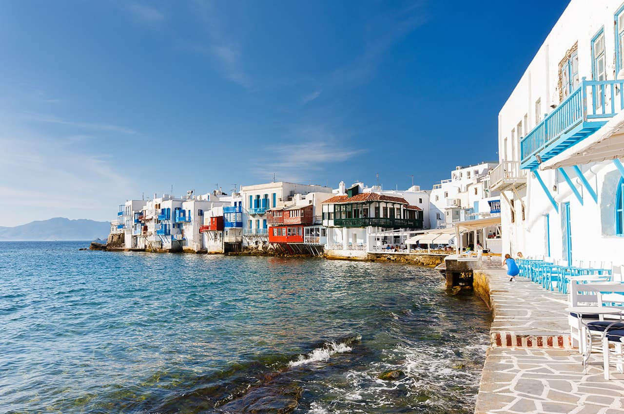 Ponto turístico, Aldeia Ilha de Míconos, Grécia Ilhas
