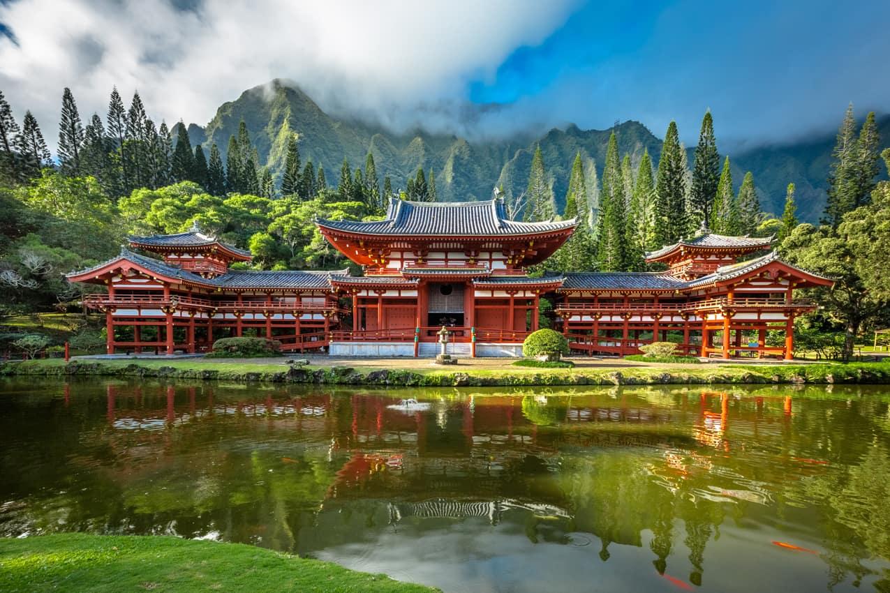 Atração turística: Templo Byodu, Oahu, Havaí