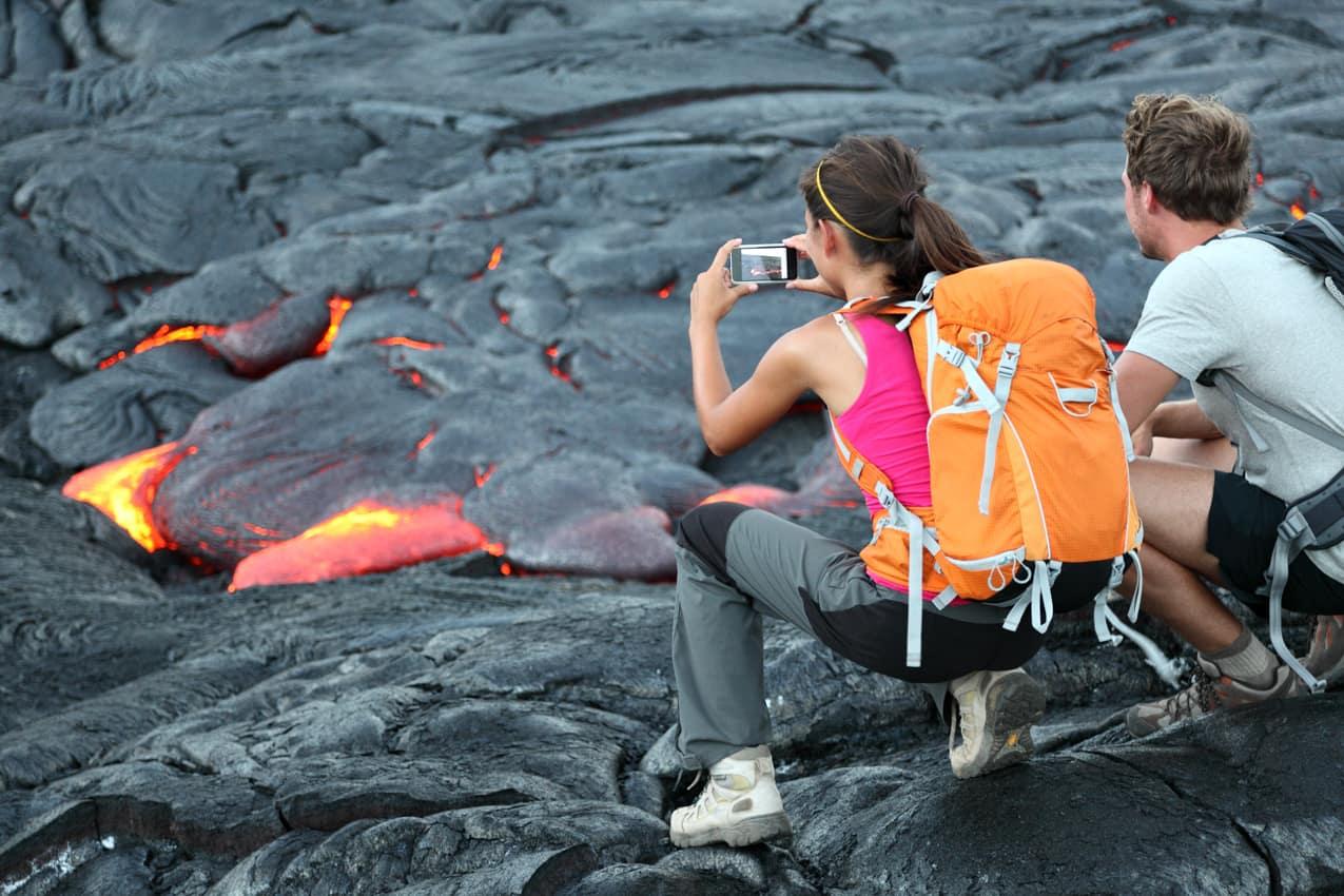 Atração turística: vulcão Kilauea, Parque Nacional Vulcães Hava, Havaí
