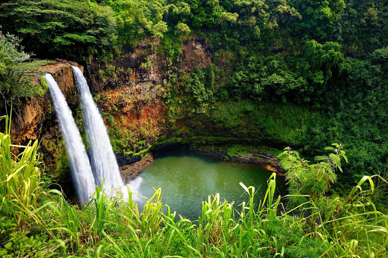 Ponto turístico Havaí: cachoeiras Wailua, Kauai