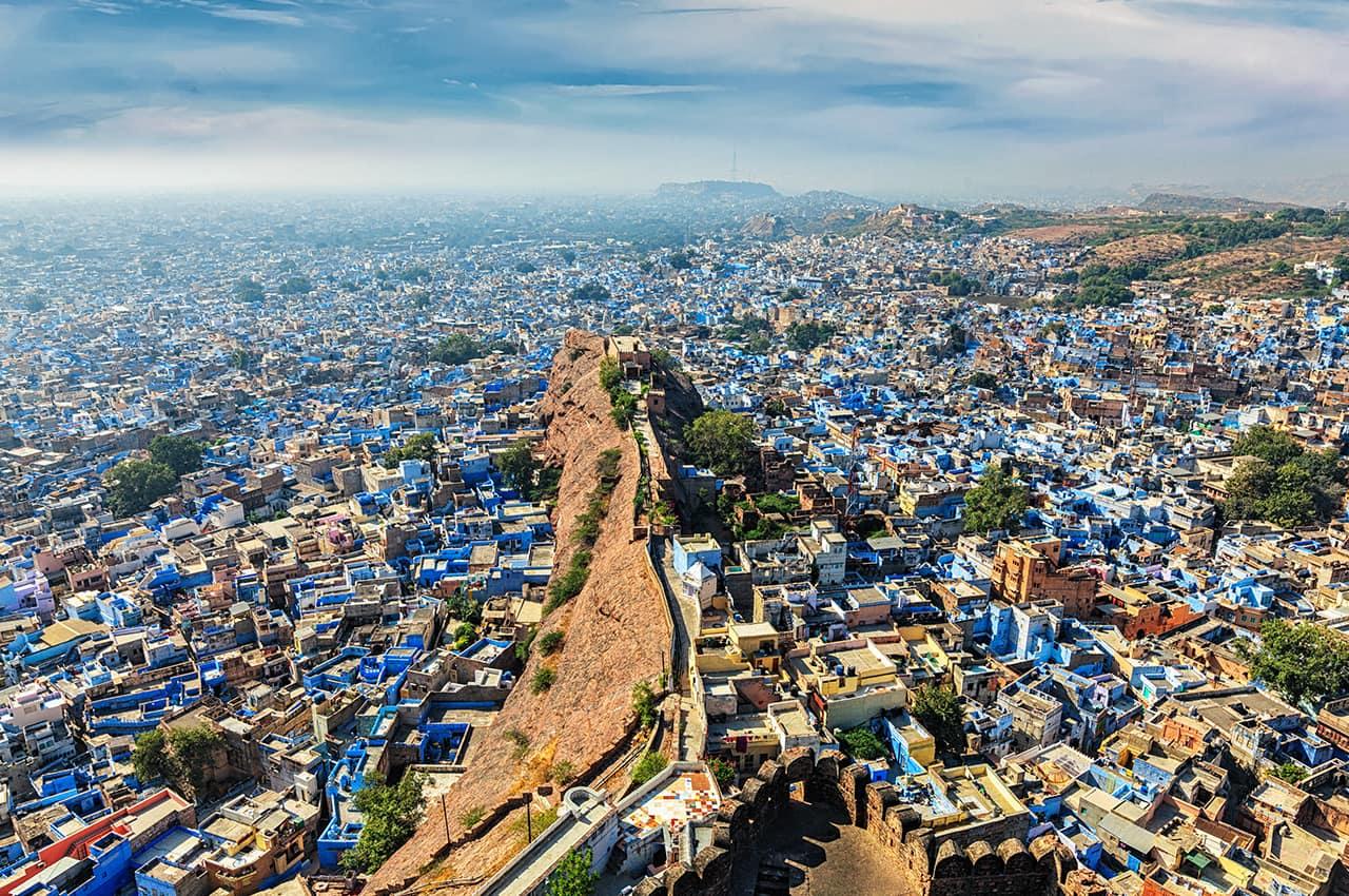Vista aérea Jodhpur, Cidade Azul, Jodhpur, Rajastão, Índia
