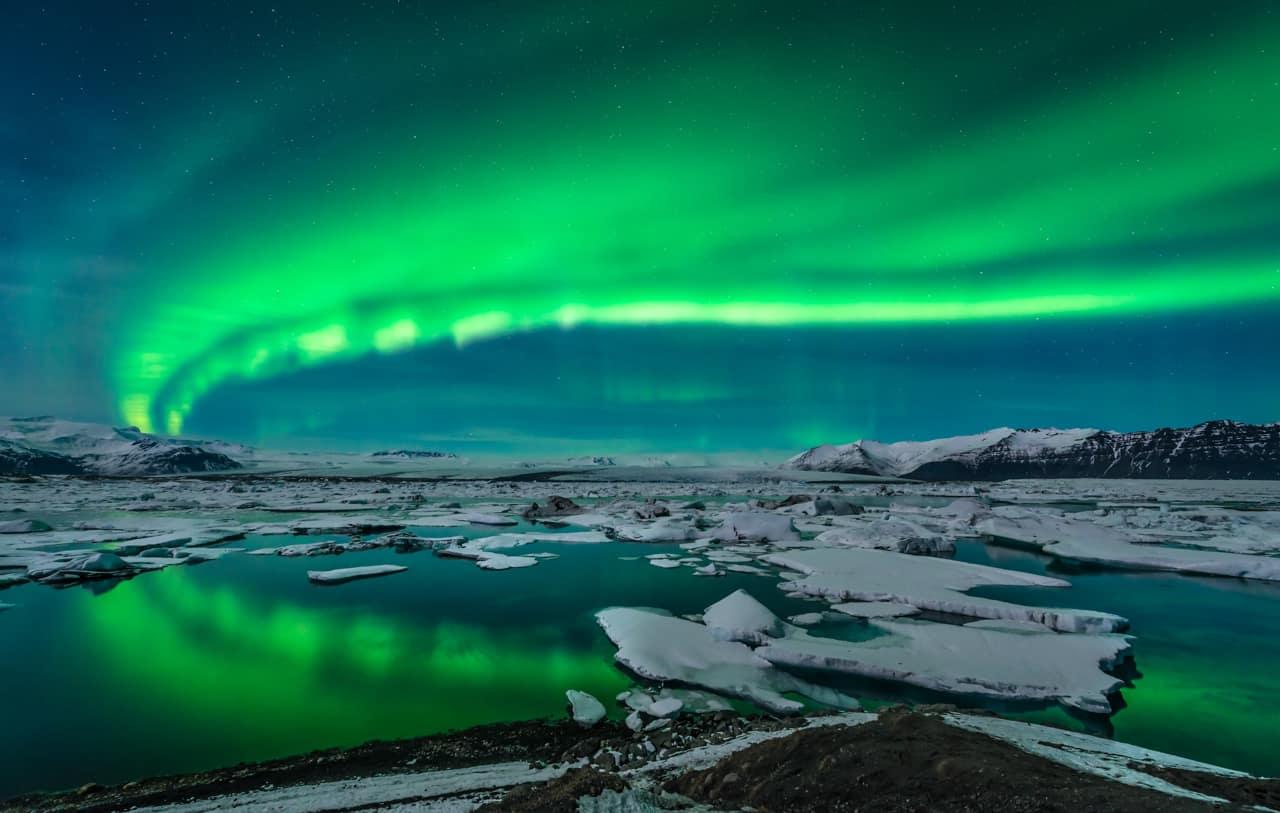 Aurora Boreal, Lagoa Jokulsarlon, Islândia
