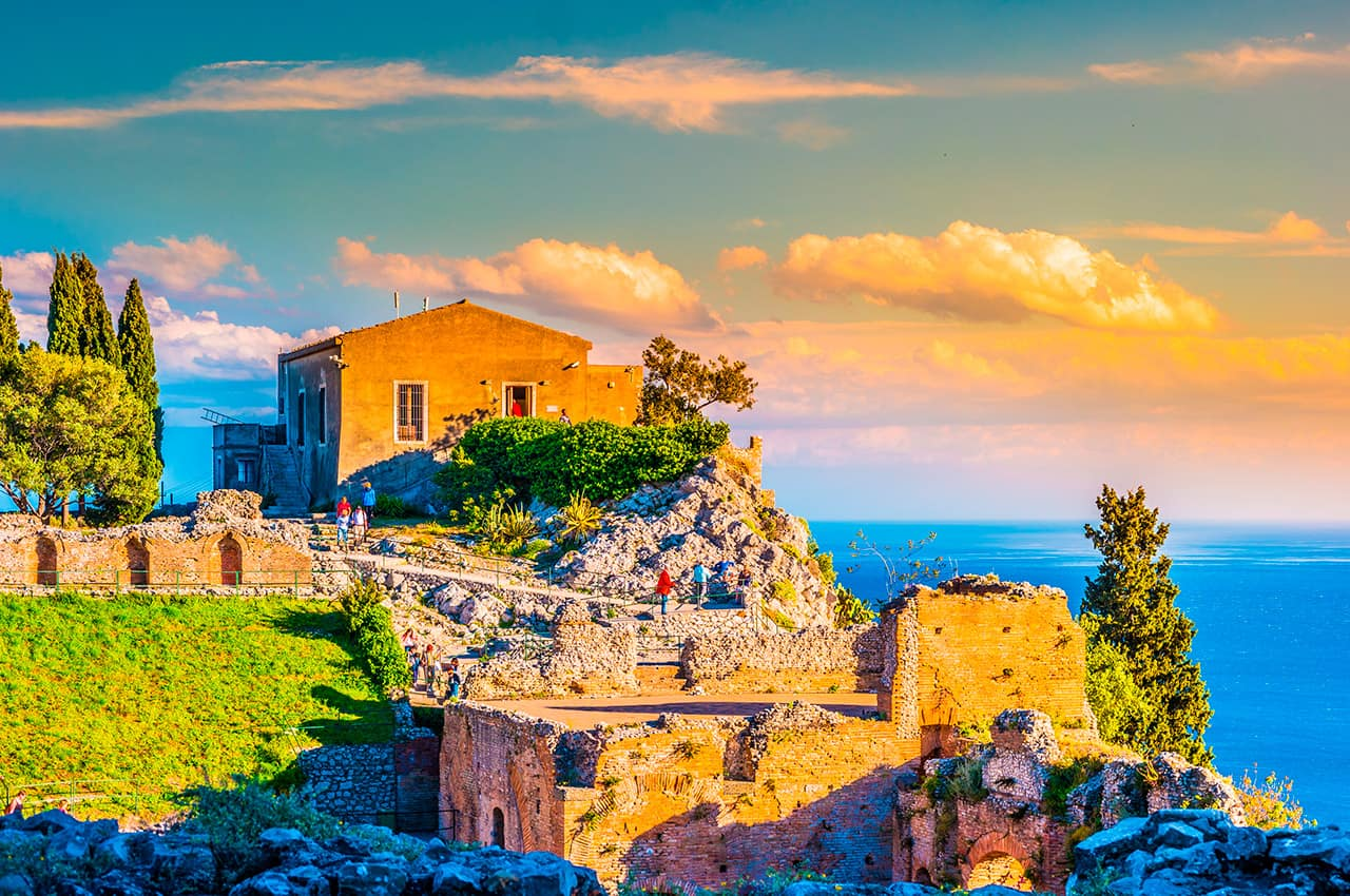 He ruins of taormina theater at