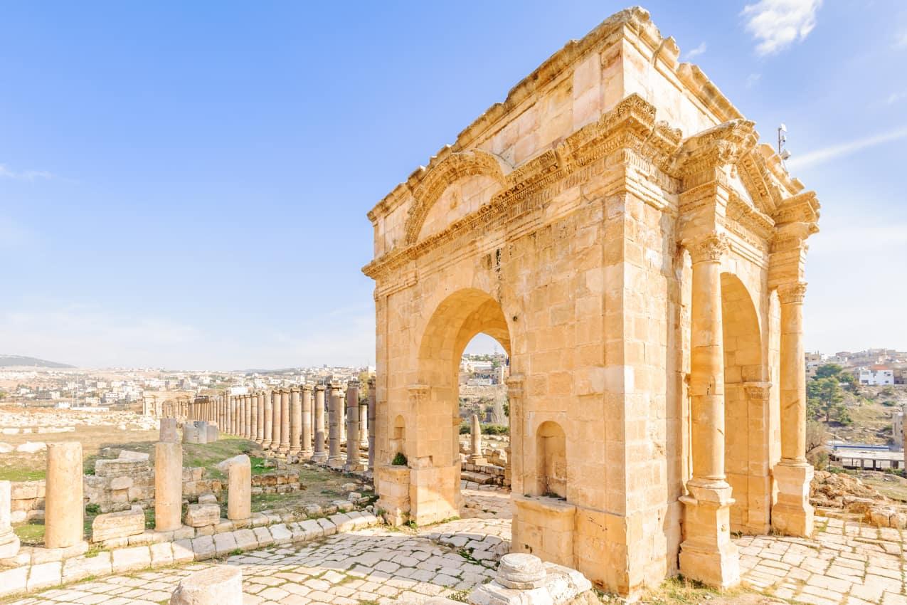 Ponto turístico Tetrapylon Jerash, Jordânia
