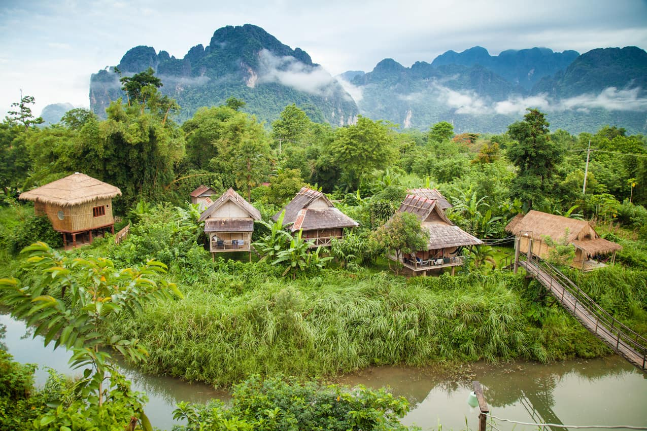 Vilarejo Vang Vieng, Laos