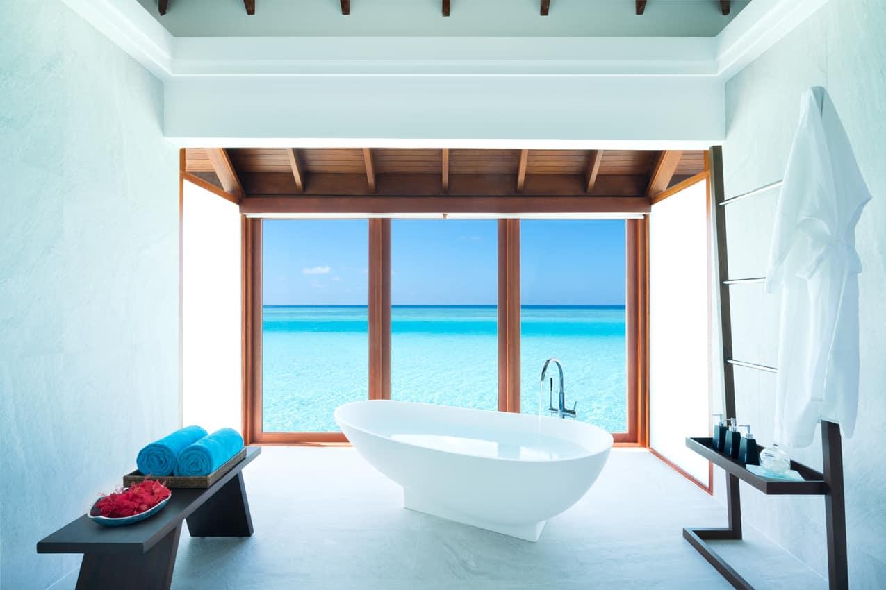 Banheira bangalô sobre águas, Anantara Dhigu, Ilhas Maldivas