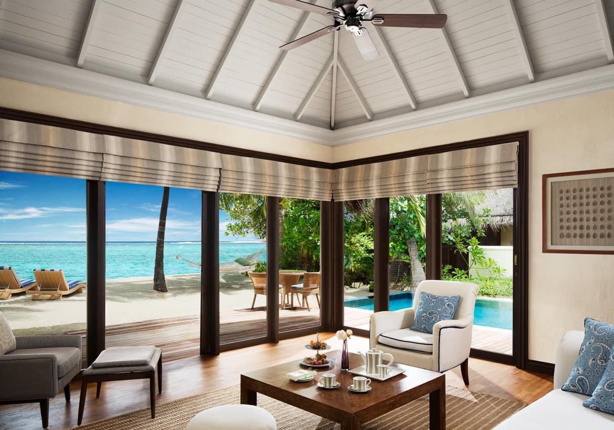 Beach villa suite piscina, Taj Exotica Resot, Ilhas Malldivas