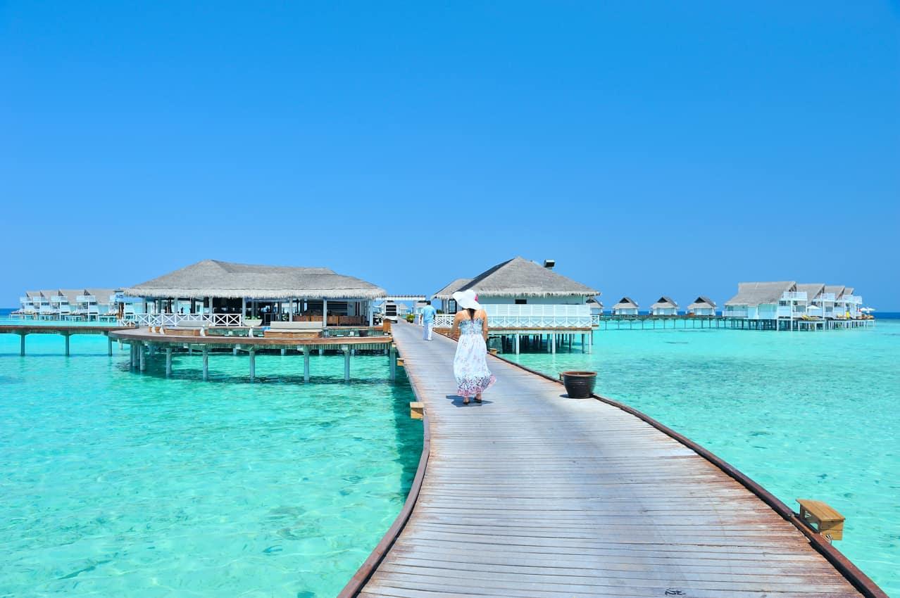 Pacote Ilhas Maldivas bangalô sobre águas