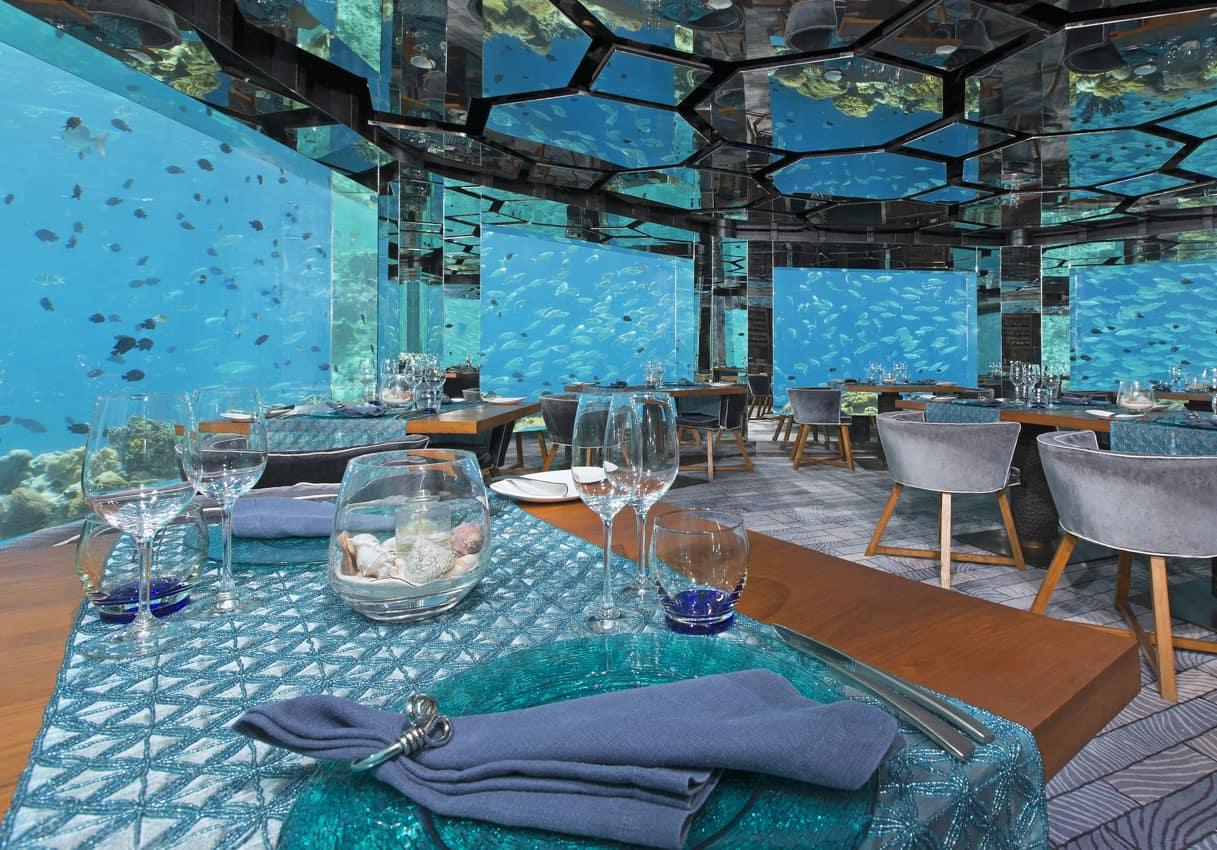 Restaurante debaixo dagua, Anantara Kihavah Villas, Ilhas Maldivas