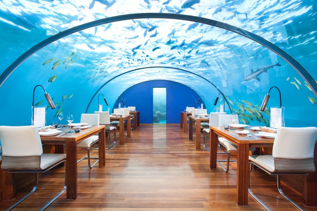 Restaurante submerso Ithaa, Conrad Maldives Rangali Island, Ilhas Maldivas