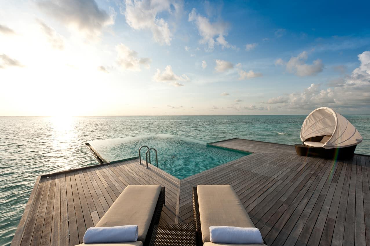 Sunset water villa, Conrad Maldives Rangali Island, Ilhas Maldivas