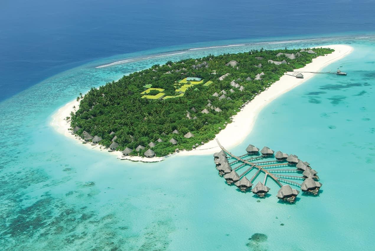 Viagem Ilhas Maldivas, vista aérea ilha-resort bangalô