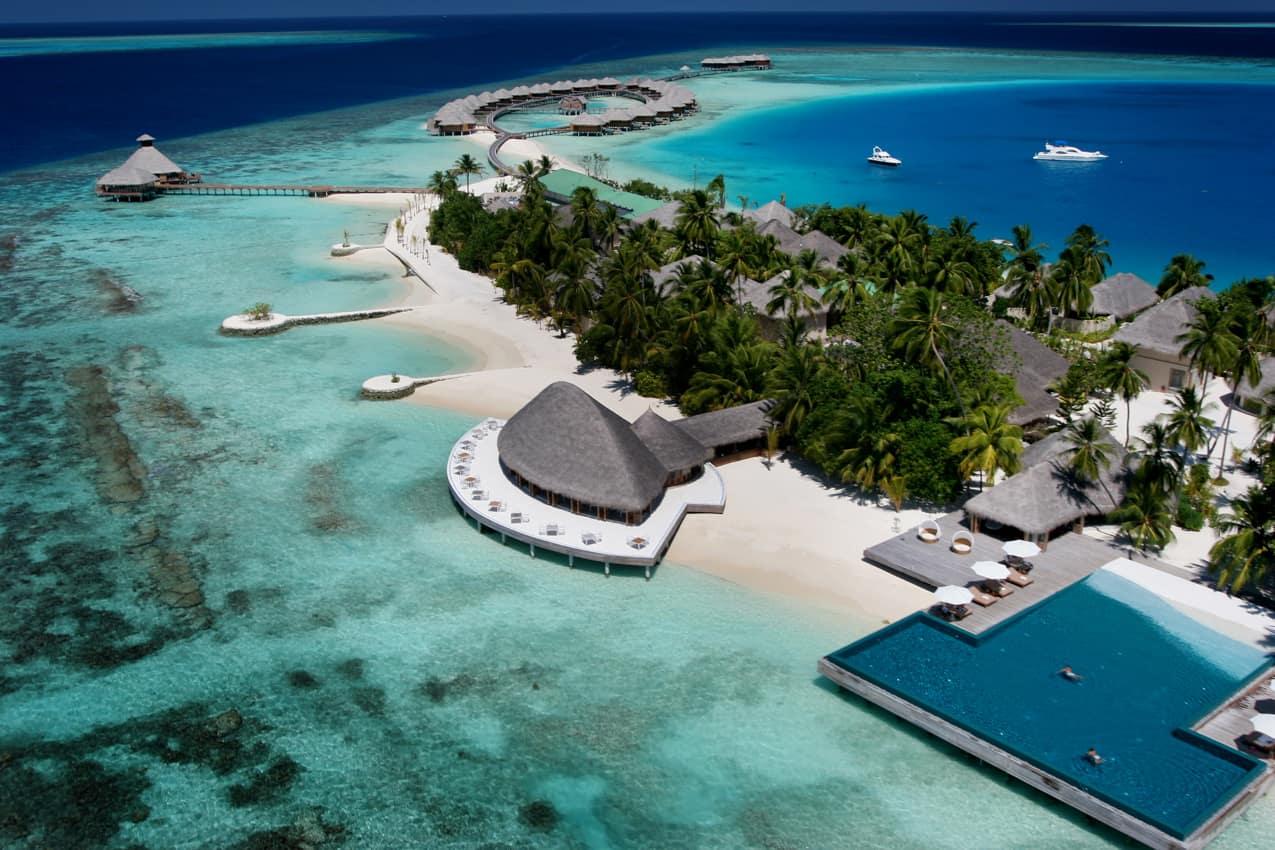 Vista aérea, PER AQUUM Huvafen Fushi, Ilhas Maldivas