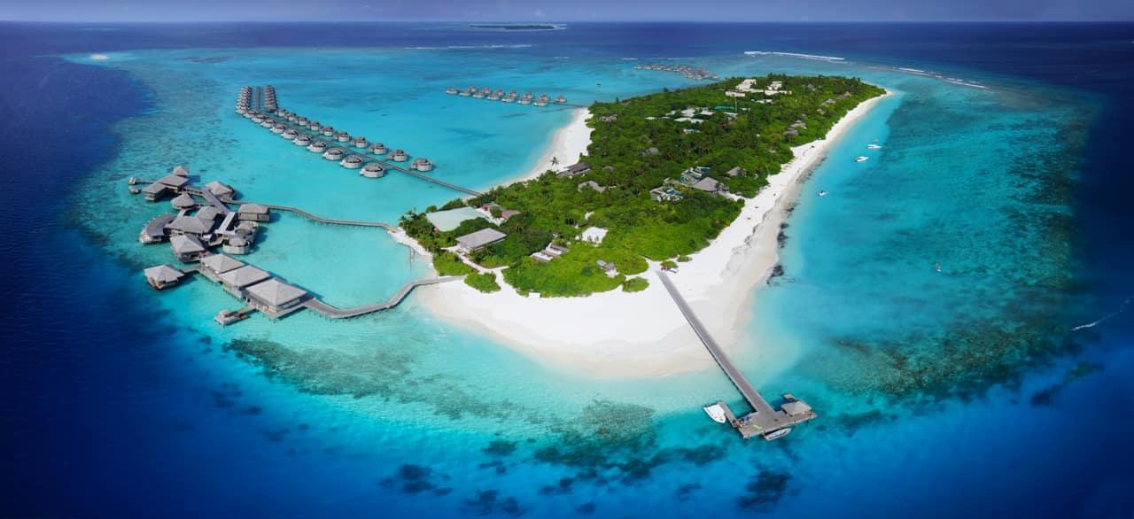 Vista aérea Six Senses Laamu, Ilhas Maldivas