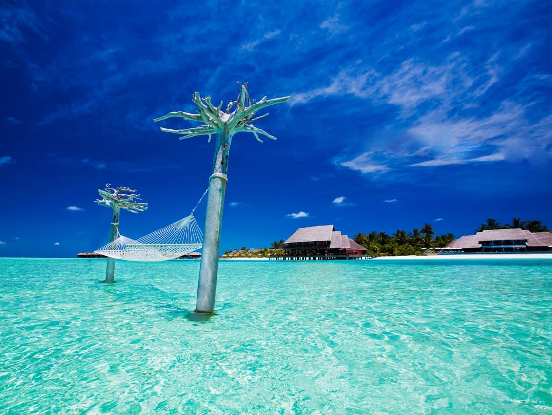 Vista lagoa, Anantara Dhigu, Ilhas Maldivas