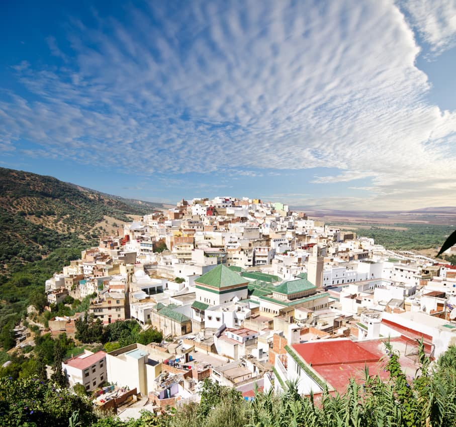 Vista panorâmica Moulay, Idris, Marrocos