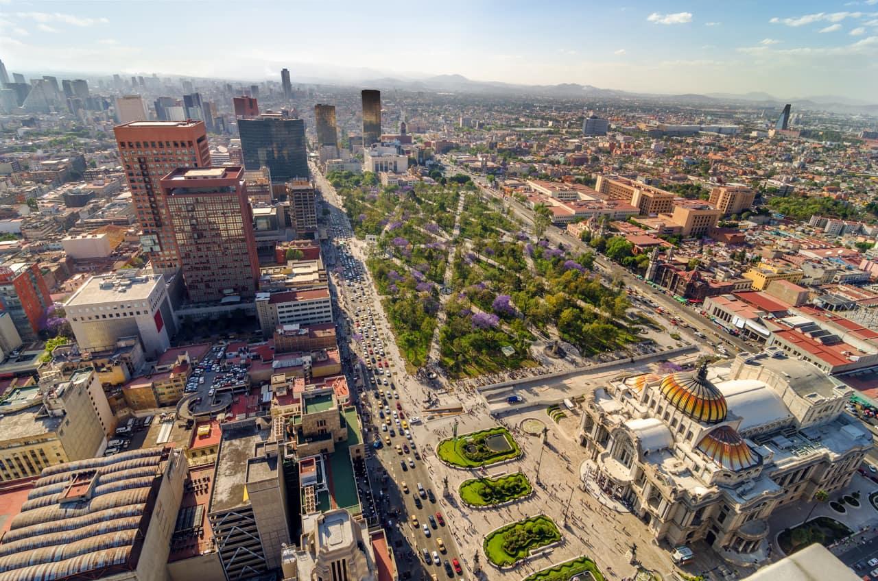 Vista áerea Palécio Belas Artes, Cidade México
