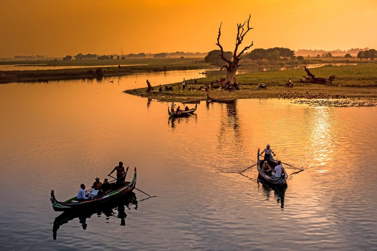 Turismo Myanmar passeios atividades Ponte U Bein Lago Amarapura, Myanmar