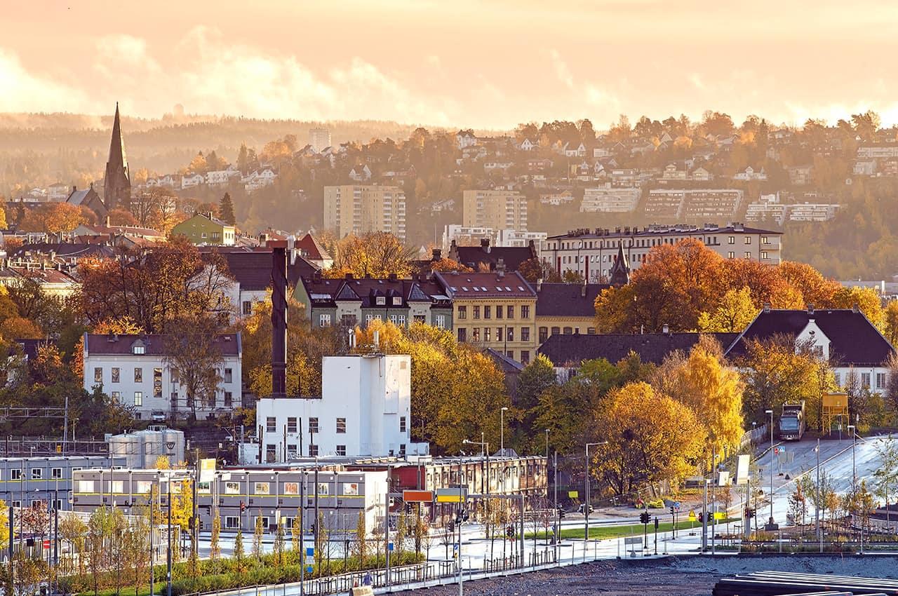 Oslo vista da cidade no roof topda opera