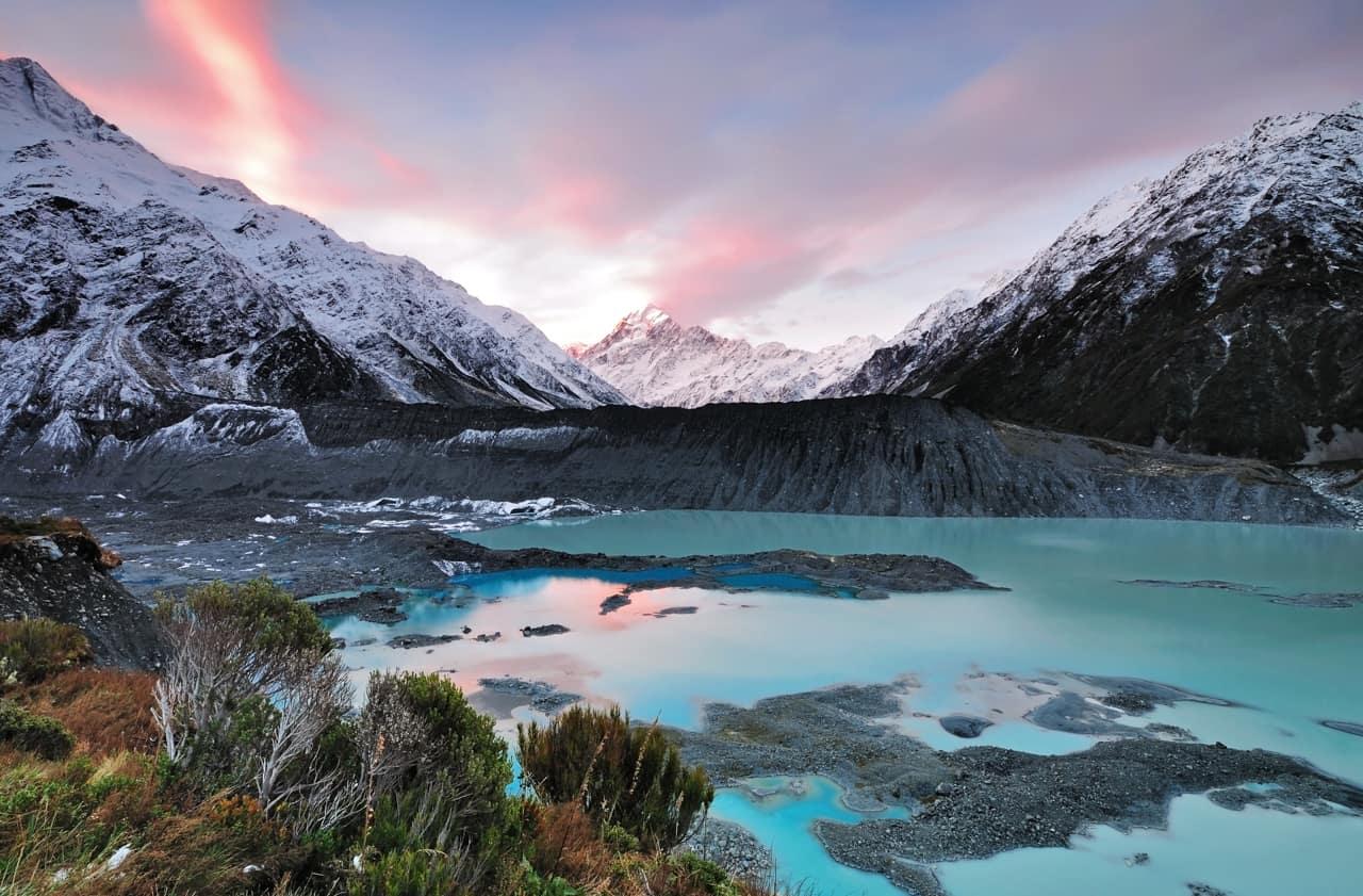 Mueller Glacier, Parque Nacional Aoraki/Monte Cook, Nova Zelândia