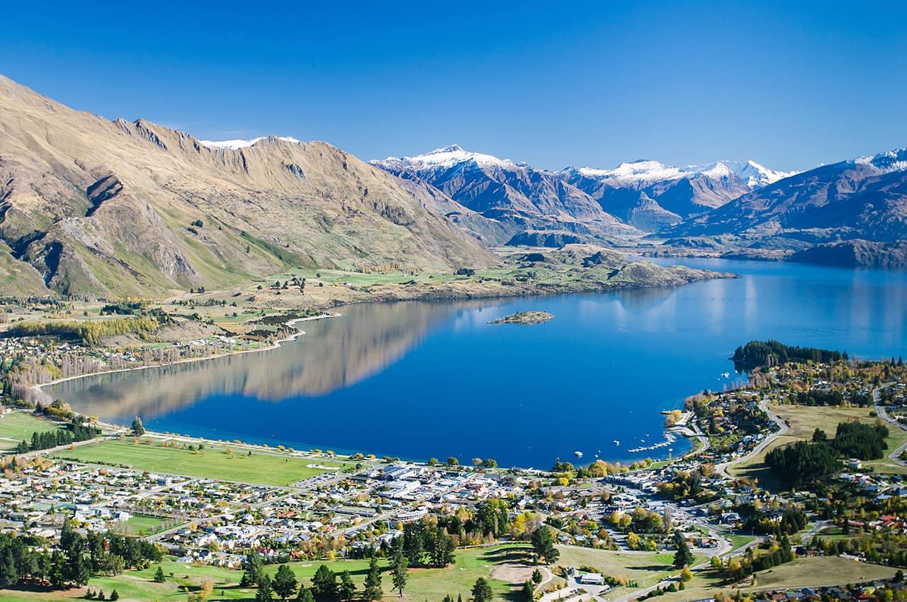 Vista aérea de Lake Wanaka