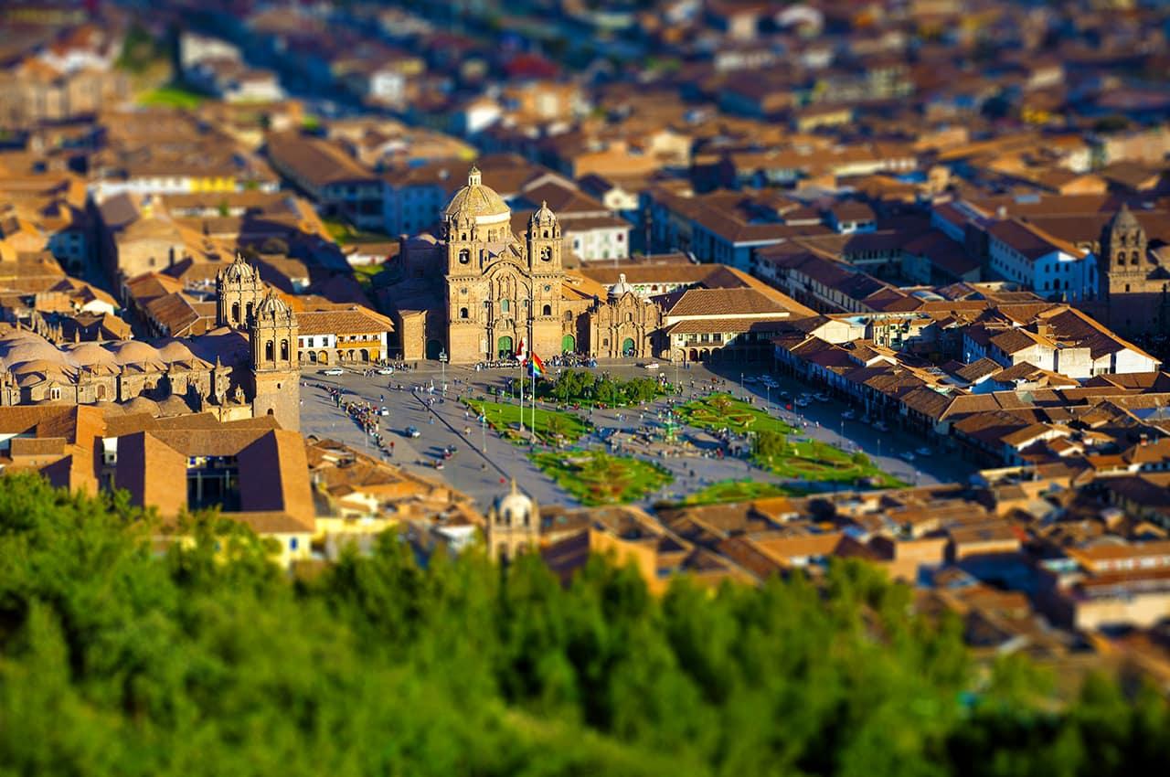 Vista aérea Cusco, foto cortesia PROMPERU