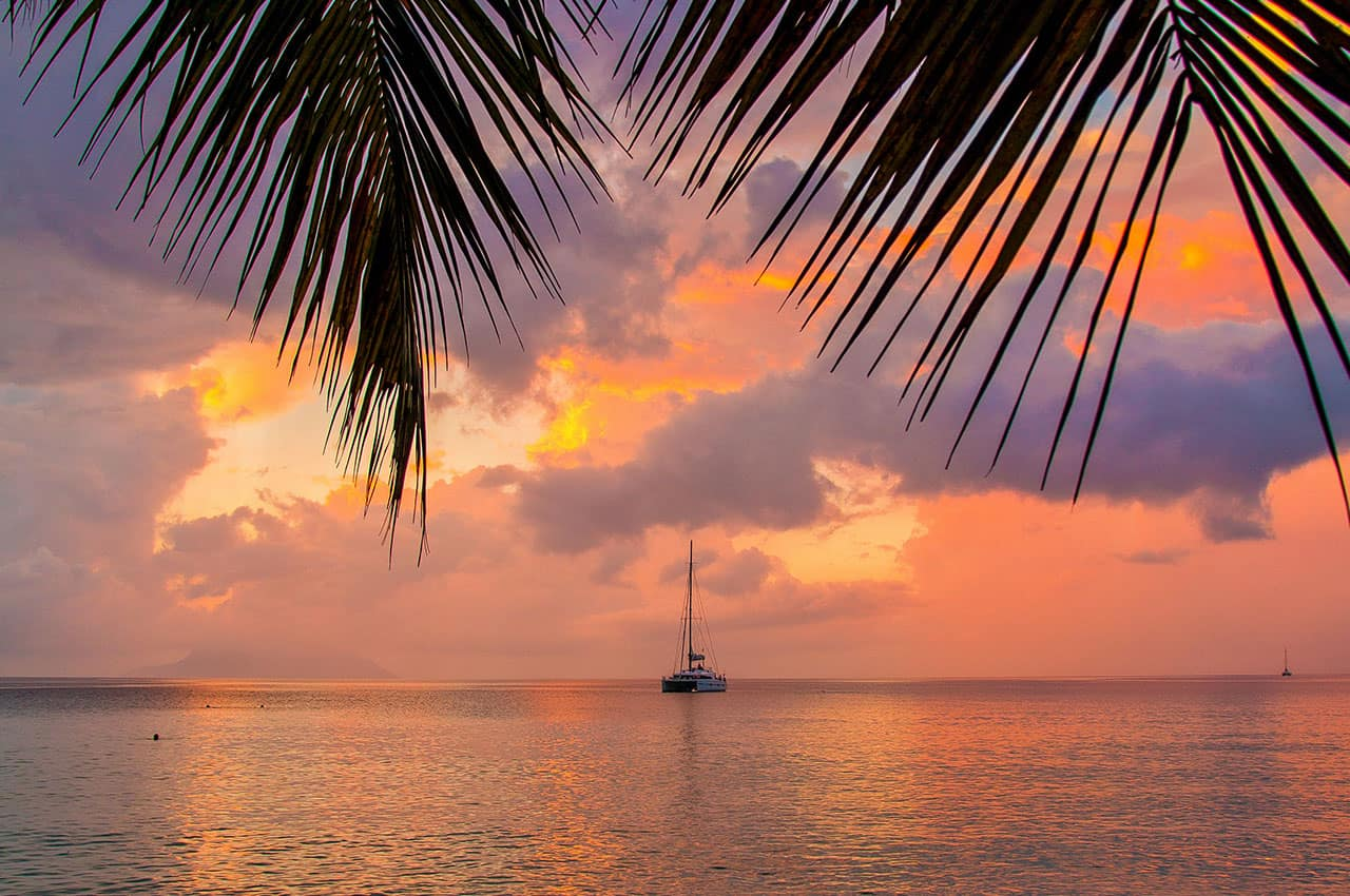 Pôr-do-sol em Seychelles