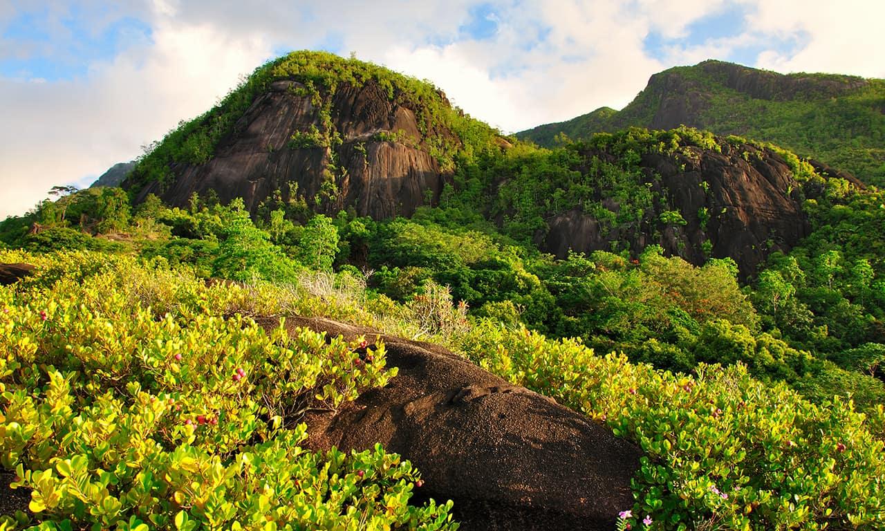 Trilha nas montanhas em Anse Major