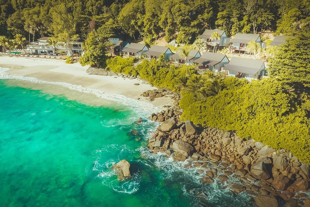 Vista aérea CaranaBeach, Ilhas Seychelles