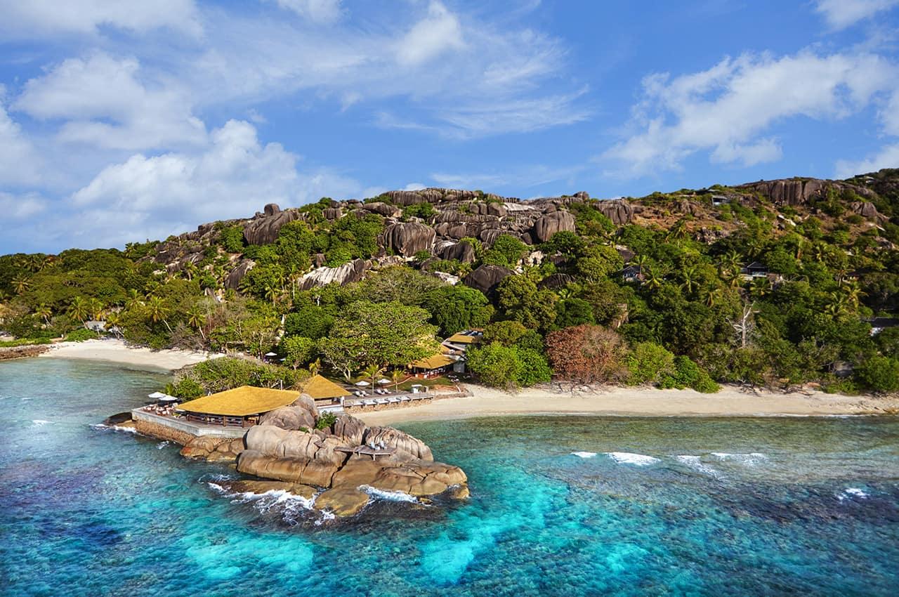 Vista aérea do Six Senses Zil Pasyon, Seychelles