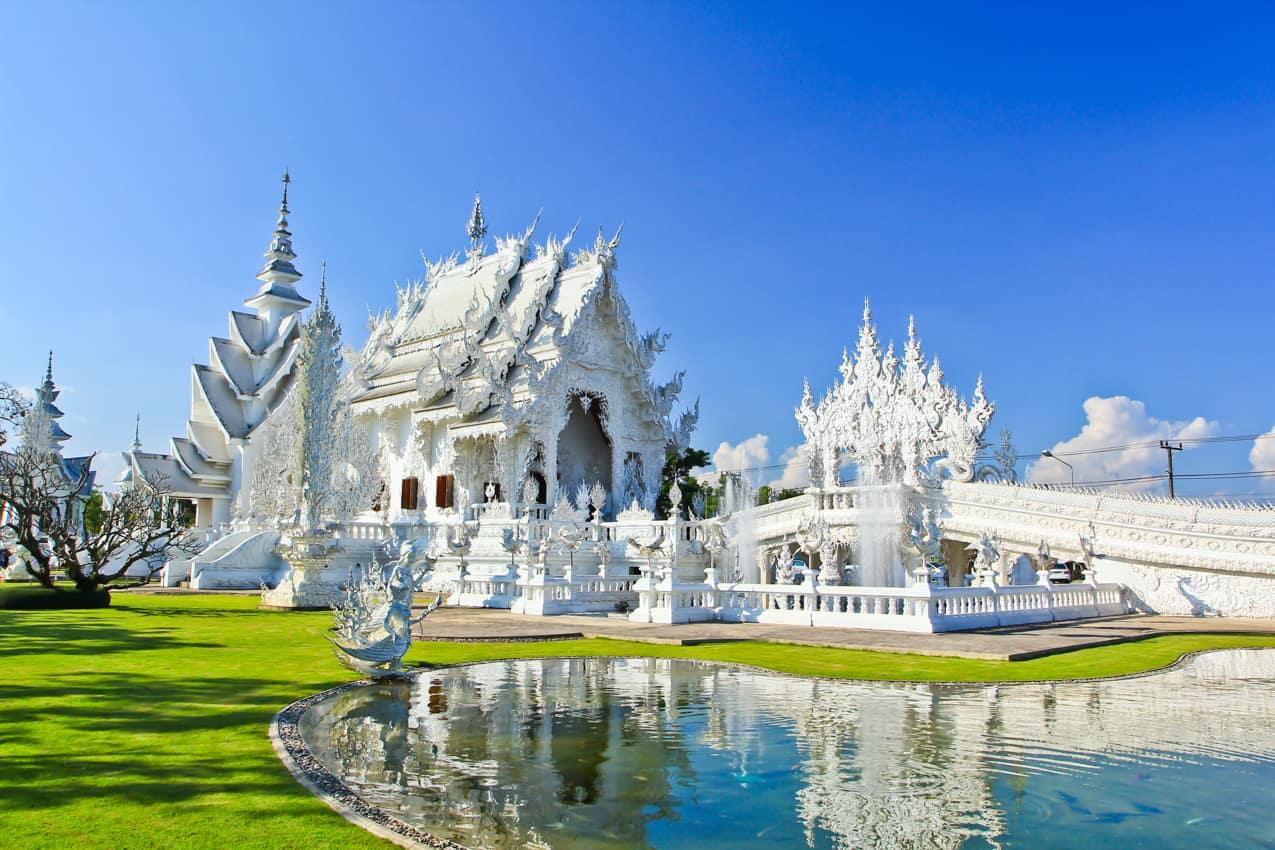 Budismo Templo Branco, Wat Rong Khun, Chiang Rai, Tailândia