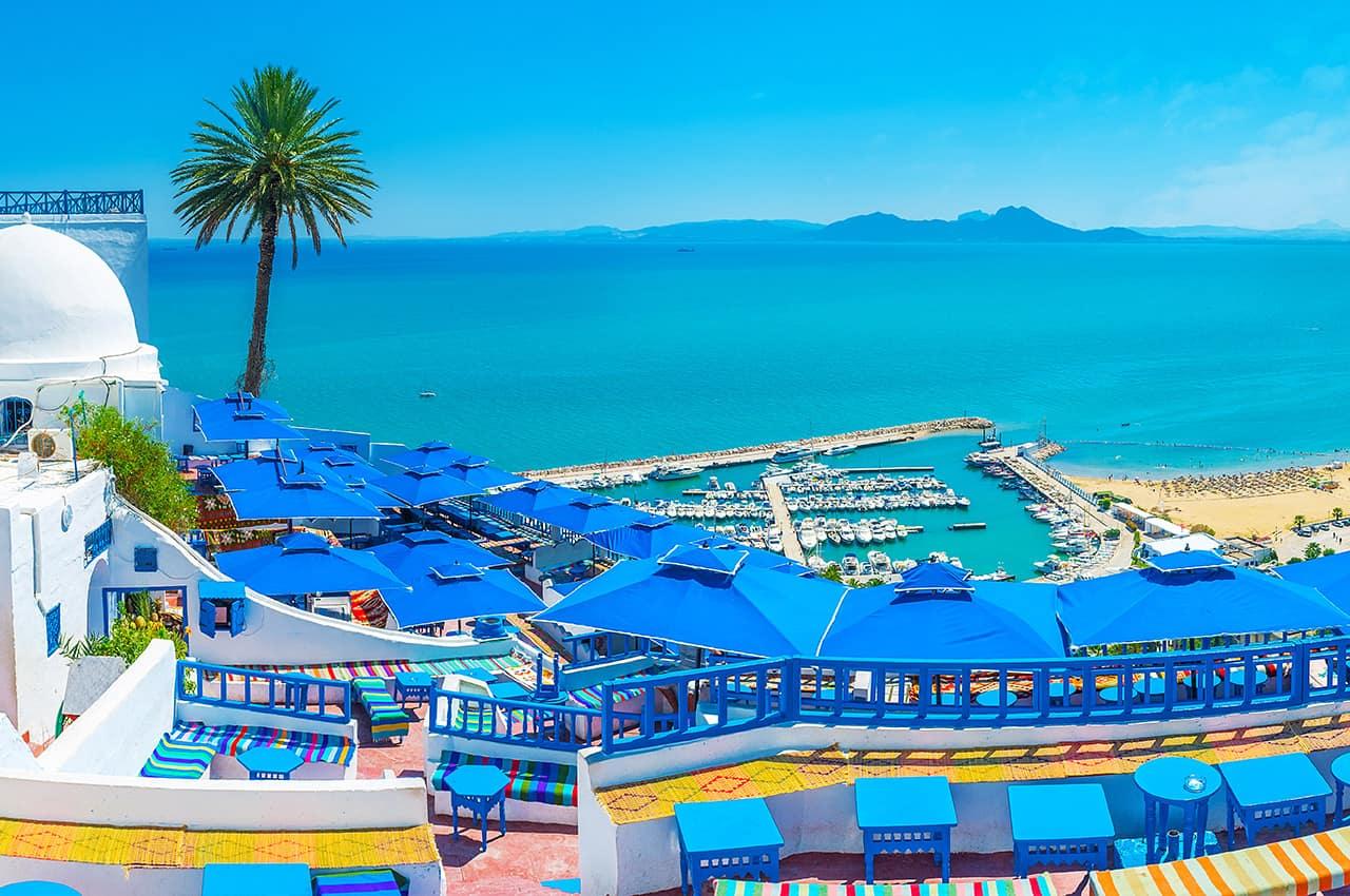 Vista cênica de Sidi Bou Said - Tunísia.