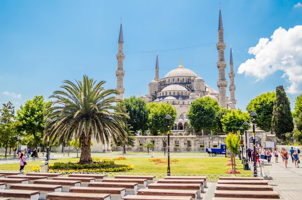 Ponto turístico Mesquista Sultan Ahmed, Istambul, Turquia