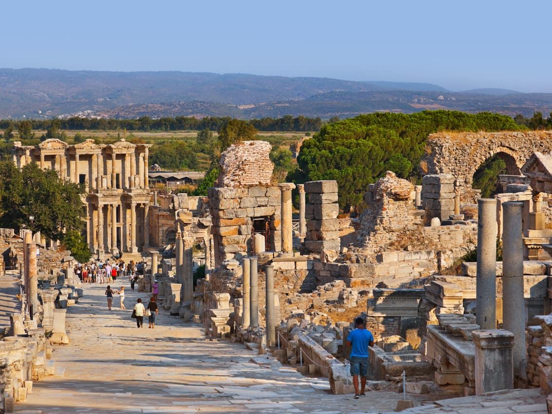 Ponto turístico, Ruínas antigas Éfeso, Viagem Turquia